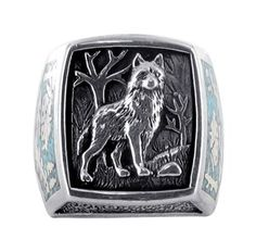 Amazon.com: Sterling Silver Turquoise Gemstone Inlay Southwestern Wolf Ring Size 7 to 15: Jewelry