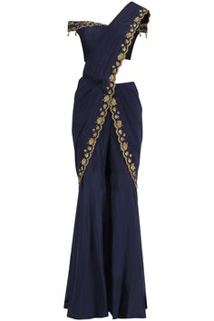 Kazmi India Blue Embroidered Pre Stitched Sharara Saree