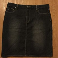 Ladies Denim Skirt 💃🏾Nautica Jeans Company 💃🏾 Stonewashed / Black Hue / Tan Stitch / Zipper Functions / Logo Button at Waist / Five Belt Loops / Three Pockets on Front / Two Back Pockets / 99% Cotton 1% Lycra / Excellent Condition / Knee Length / Plus size Nautica Skirts