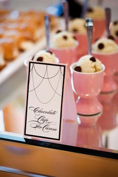 mini servings of ice cream served in egg cups - so cute! Easter