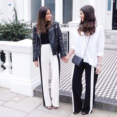 Twin it with your BFF like @wearetwinset in our black and white side stripe wide trousers! #imwearingri (black: £40, white: £17)