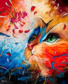 One of a kind Original Paintings and Prints for Sale. Cat, feline, fish and trout paintings and prints! NaushadArts on Facebook & Twitter.