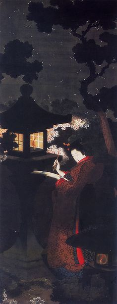 taishou-kun:  Katsushika Oui 葛飾応為 Yozakura bijin-zu 夜桜美人図 (Cherry blossoms beautiful view) - circa 1850s - Menard Art Museum, Aichi Japan
