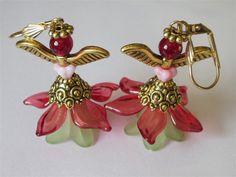 Fairy Earrings,  Red Green,  Handmade Jewelry,  Beaded Dangles,  Angel Wings,  Lucite Flower,  Woodland by DanglingDesigns on Etsy https://www.etsy.com/listing/113419575/fairy-earrings-red-green-handmade