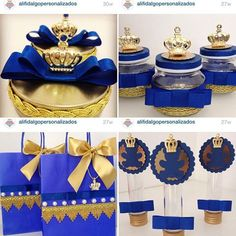 What a fantastic blue and gold prince party for a first bir Prince Birthday Party, Prince Party, Baby Boy 1st Birthday, 1st Birthday Parties, Baby Shower Cakes, Baby Shower Parties, Baby Shower Themes, Baby Boy Shower, Royalty Baby Shower