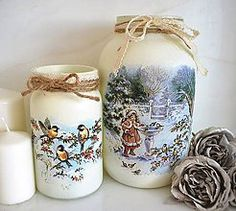 Svietidlá a sviečky - Vianočné svetielka / vázy sada - 5997087_ Christmas Makes, Xmas, Decoupage, Recycled Glass Bottles, Vases, Mason Jar Diy, Pillar Candles, Snowflakes, Snowman