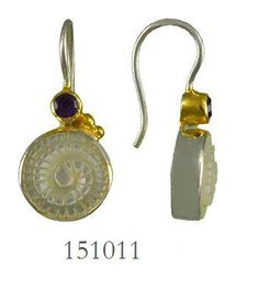 White Mother of Pearl and African Amethyst earrings - Poseidon's Treasures Collection