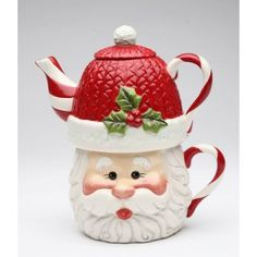 I Believe: Santa Tea For One (Mug: 11 oz ; Pot: 15 oz) Size: Mug: 5 in.H Pot: 6 in.H Enjoy this exquisite item from Cosmos Gifts. High quality ceramic construction, Hand wash only. Christmas China, Christmas Dishes, Christmas Tea, Tea For One, Tea Pot Set, Teapots And Cups, Ceramic Teapots, China Porcelain, Tea Time