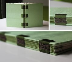 French Link Example bookbinding by Relligat - pretty green wood grain paper