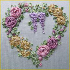 Roses & Wisteria Heart Embroidery Full kit - Valentines - Valentine Craft - Valentine Decorating Ideas   #valentines  #hearts