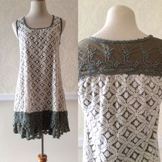 A'reve all over lace dress, sleeveless with crochet bottom ~ size Small ~ $30.00 + shipping 🌾