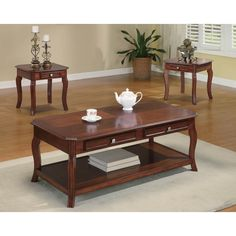 Bring warmth into your home with the Coaster Furniture 3 Piece Coffee Table Set - Warm Light Bourbon . This three-piece set adds ample storage space,. Coffee Table Sets With Storage, Cherry Coffee Table, 3 Piece Coffee Table Set, Coffee And End Tables, End Table Sets, A Table, Center Table, Side Tables, Simple Coffee Table