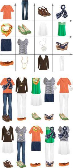 Orange, Green & Brown 2-week capsule wardrobe