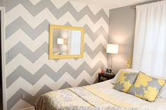 Grey and white chevron wall. Want to paint a chevron wall somewhere Chevron Wall, Decor, Home Diy, Chevron Bedroom, Bedroom Makeover, Room Paint, Bedroom Decor, Home Projects, Home Decor