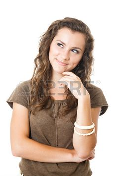 young female have an idea smiling isolated on white Stock Photo