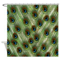 Red Eye Peacock Pattern Shower Curtain