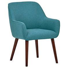 Rivet Julie Mid-Century Swope Accent Dining Chair, 23.6″ W, Aqua