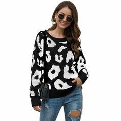 Autumn and Winter Leopard Print Sweater Round Neck Loose Pullover Sweater Sweater Pullover Women Sweater Cool Sweaters, Sweaters For Women, Order Checks, Sweater Outfits, Pullover Sweaters, Bodycon Dress, Autumn, Blouse, Winter