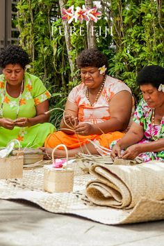 Pure Fiji supports a community of women that live outside Suva. These women are kept busy weaving baskets that are used to package Pure Fiji products. The ladies claim to fame are the baskets they supplied for the Emmy Awards beauty event in 2002. This basket is now lovingly referred to as the 'Emmy basket' and has provided a little touch of gold dust in the community with the purchase of a water tank and payment of school fees for the children. http://www.purefiji.com/basket-ladies…