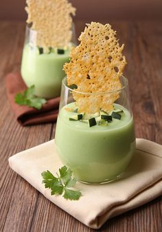 Chilled avocado and cucumber soup served with a light and airy parmesan cheese chip. / Appetizer & Finger Food Recipes