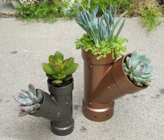 garden, planter, plumbing, recycled, steampunk I created these adorable Plastic Plumbing Planters using ABS (plastic) plumbing parts from my local hardware store. Why not make a few of your own? As long as the piece will stand upright and drain out the bottom, any shape could work! Here's
