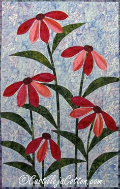 Hey, I found this really awesome Etsy listing at https://www.etsy.com/listing/192127959/flower-art-quilt-cone-flower-wall