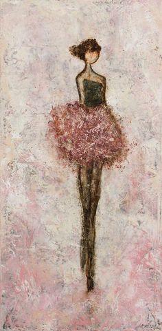 Femme de danseur peinture figurative texturé par SwallaStudio