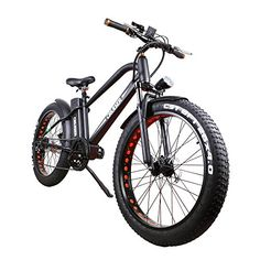 NAKTO Electric Bicycle Fat Tire Snow Mountain EBike Shimano 6 Speeds Gear with Removable Lithium BatterySmart Multi Function LED Display Electric Mountain Bike, Mountain Bicycle, Mountain Biking, Snow Mountain, Electric Tricycle, Folding Electric Bike, Electric Bicycle For Sale, Mountain Bike Accessories, Cool Bike Accessories