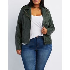 631367179be Charlotte Russe Moto Jacket ( 45) ❤ liked on Polyvore featuring plus size  women s fashion