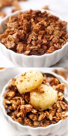 This healthy Banana Bread Granola recipe uses just 6 ingredients, has those perfect clusters, and is also oil-free and vegan. Such an easy homemade breakfast or treat! free recipes for dessert videos Oil-Free Banana Bread Granola Healthy Meal Prep, Healthy Snacks, Healthy Recipes, Healthy Homemade Granola, Heart Healthy Desserts, Homemade Cereal, Vegan Recipes Videos, Healthy Recipe Videos, Healthy Food List