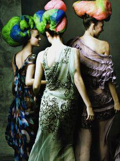 Viktoriya Sasonkina,Coco Rocha and Karlie Kloss in 'Power Hair'  Photographer: Annie Leibovitz  Dresses: John Galliano S/S 2009  Vogue US March 2009
