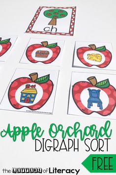 This free printable apple-themed digraph sort is perfect for Kindergarten and 1st grade fall literacy centers! Work on beginning digraphs and have fun! 1st Grade Activities, Apple Activities, Phonics Activities, Preschool Activities, Phonics Centers, Abc Phonics, Kindergarten Apples, Kindergarten Literacy, 1st Grade Centers