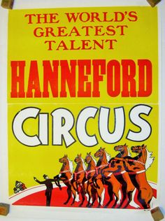 """Items similar to Vintage Circus Poster - Hanneford """"The World's Greatest Circus Talent"""" Circus Poster - Horses on Etsy Vintage Circus Posters, The World's Greatest, 1970s, Vintage Items, Comic Books, Horses, Comic"""