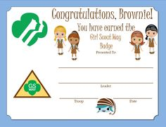 Brownie Girl Scout Way Badge Certificate