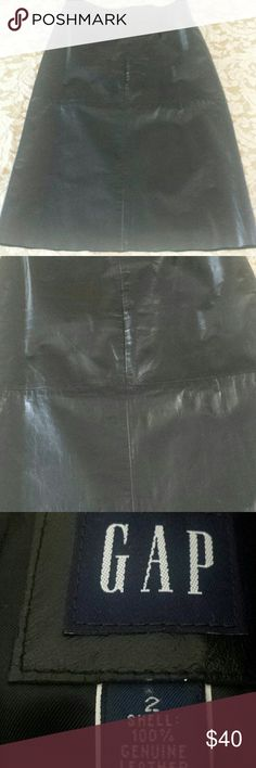 Leather skirt GAP black A line leather skirt. Leather in excellent condition. The skirt is lined. Hem is raw. GAP Skirts
