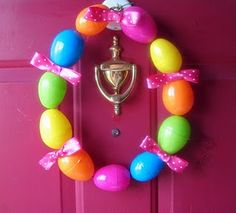 easy easter egg wreath - just drill holes in easter eggs and put on string with ribbon. Spring Crafts, Holiday Crafts, Holiday Fun, Hoppy Easter, Easter Eggs, Easter Bunny, Easter Crafts For Kids, Easter Decor, Easter Ideas