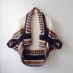 Afghan Crochet Cardigan Chunky Shrug Cocoon Shrug by GrahamsBazaar