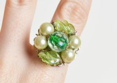 Vintage 60s OOAK Pearl Cluster Cocktail Ring / 1960s Mint Green Bead Ring