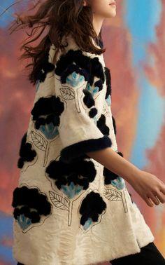 10876177d Flower Intarsia Fur Coat by Carolina Herrera PF19