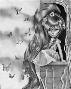 "The whole artwork doesnt fit...I will have to reduce even more the image for you to see the full drawing...its 50cm long.  I simply called it ""The Girl in the Tower""  #rapunzel #drawing #illustration #art #artwork #girl #pencilart #graphite #tower #raulguerra"