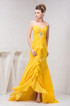 Bridesire - A-Linie Herz-Ausschnitt Sweep/Pinsel Zug ärmellos Chiffon Kleid [BD41067] - €92.84 : Bridesire
