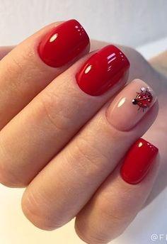 Best designs 2019 for nail art products- Nail Care Market Gorgeous Nails, Love Nails, Pretty Nails, My Nails, Bling Nails, Short Red Nails, Ladybug Nails, Red Nail Art, Simple Nail Designs