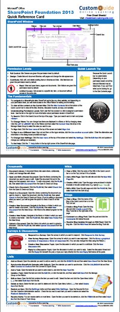 Free SharePoint 2013 Quick Reference Card. http://www.customguide.com/cheat_sheets/sharepoint-2013-cheat-sheet.pdf