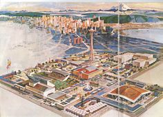 Design render of Seattle space needle and exposition grounds