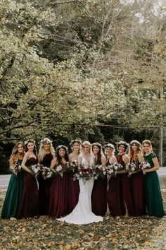 Autumn Nashville Wedding at Drakewood Farm We love the moody fall color palette in these mismatched bridesmaid gowns Fall Wedding Bridesmaids, Summer Bridesmaid Dresses, Wedding Dresses, Velvet Bridesmaid Dresses, Bride Dresses, Fall Dresses, Green And Burgundy Wedding, Perfect Wedding Dress, Wedding Photos