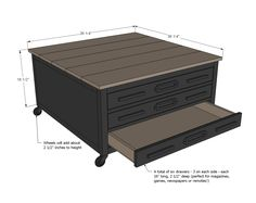 6 Drawer Library Coffee Table - this is the link to the free plans. Big thanks to Ana White - this lady has it figured out! Basement Furniture, Building Furniture, Diy Furniture Projects, Easy Diy Projects, Wood Projects, Woodworking Patterns, Woodworking Furniture, Diy Woodworking, Furniture Plans