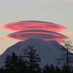 Lenticular Clouds, Mt. Rainier, Washington by Michael Brehman