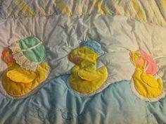 Cute Reversible Rubber Ducky Nursery Bedding Crib Set Quilt & Headboard Bumper $46.99
