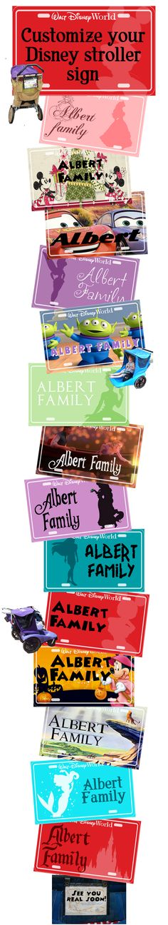 Customize your Disney stroller tags - available in Word and Gimp formats