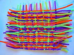 This looks like fun...weaving with pipe cleaners